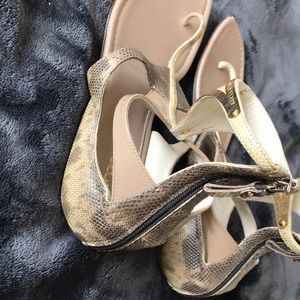 Sergio Rossi sandals with hammered gold trim